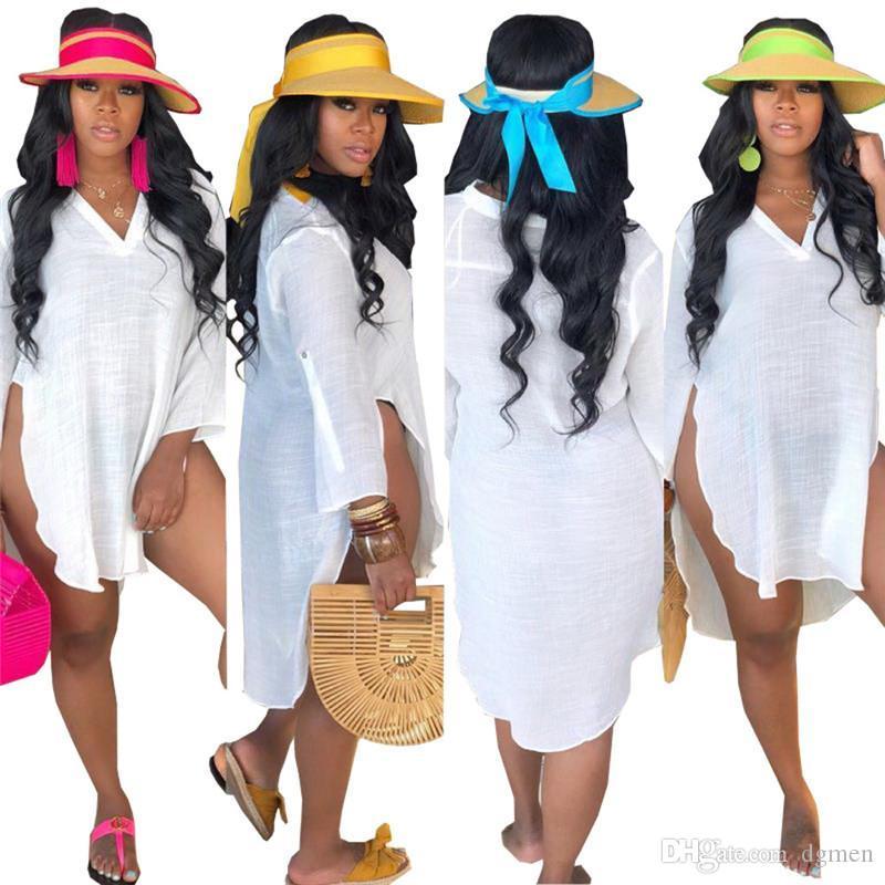 Белый V -neck Женщины футболки Summer Beach Long Casual Сыпучие Split Tops распались Дизайнер тройники