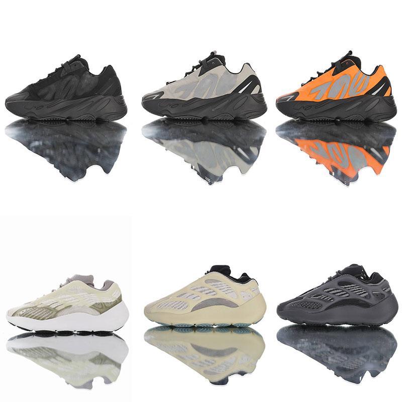 Acheter Adidas YEEZY 700 V3 V2 Alva Rougeoyant Dans Le Noir Chaussures De Course Filles Sneakers 3M MNVNS Orange Hommes Filles Garçons Azaël Noir