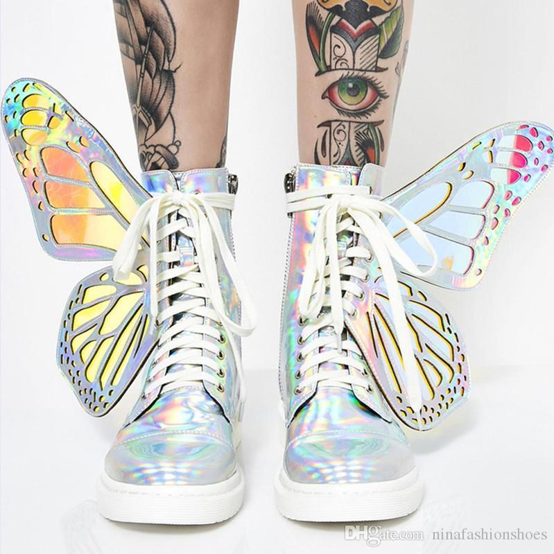Frauen Glanz Silber kurze Stiefel mit Butterfly Wings arbeiten flache Booties Schuhe der neuen Damen-Kleid Stiefeletten botinen Mujer