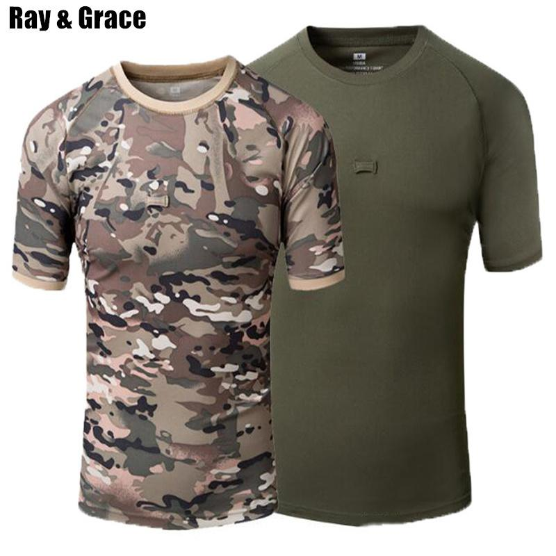 Ray Grace Summer Hiking Outdoor T-shirt Men Quick Drying Breathable Military Camouflage Hunting T Shirt Mountain Climbing Tops C19041201