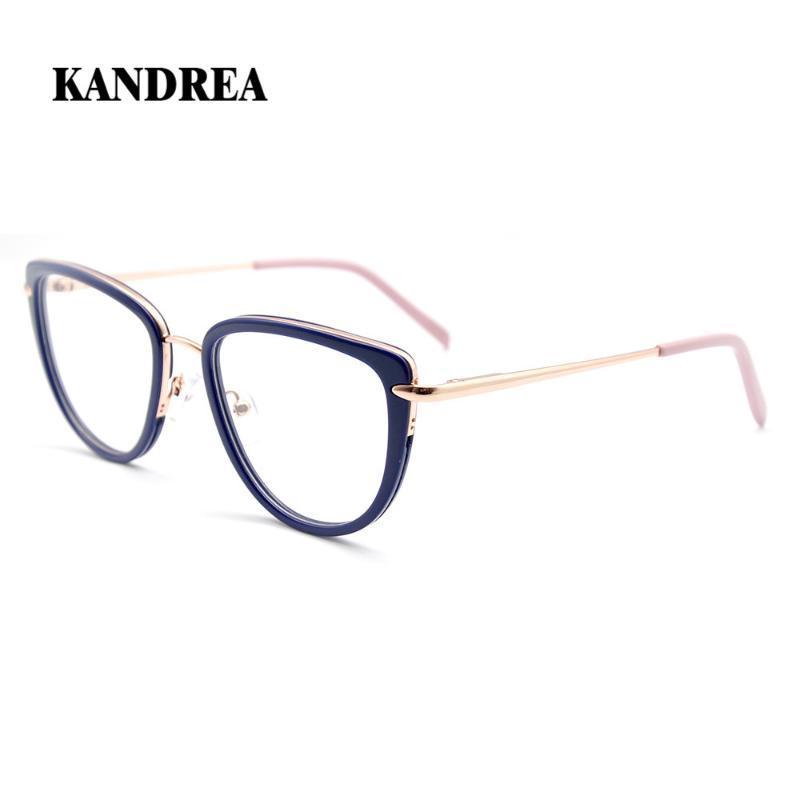 KANDREA 2020 Fashion Brille Metall + Azetat-Glas-Rahmen-Frauen-Katzenauge-Nerd-Brillen Anti Blue Ray Computer-Brillen