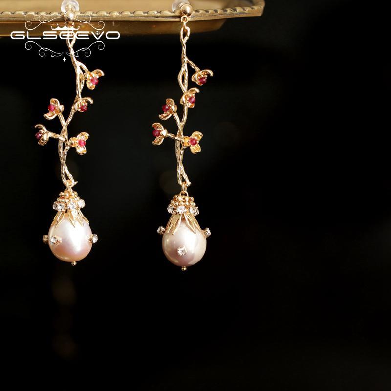 GLSEEVO perles naturelles d'eau douce Goutte Boucles d'oreilles Arbre Fruit Fleur Boucles d'oreilles pour femmes Bijoux Pendientes Mujer Moda 2019 GE0792 CX200707