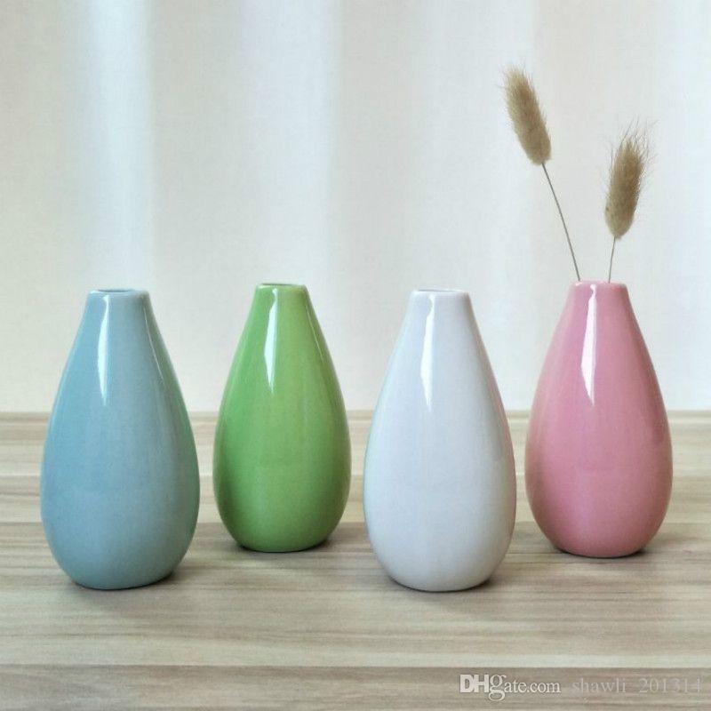 Hot Mini Europe Home Ceramica liscia Ceramica Vaso di fiori dell'ufficio della mini vaso di nozze ornamenti da tavolo Vaso decorazione domestica Vaso in ceramica