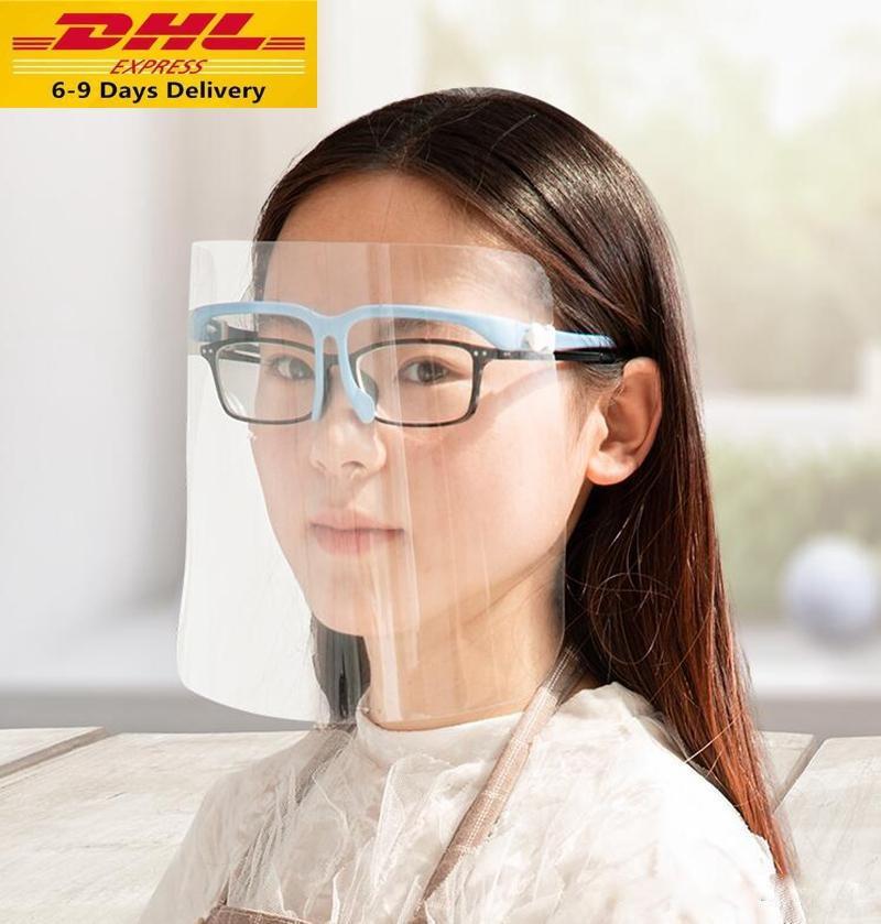 DHL Быстрая доставка ПЭТ очки Защитная маска безопасности Масло-Влагонепроницаемый Anti-UV Защитная крышка для лица со стеклом Transparent лица Glass Mask