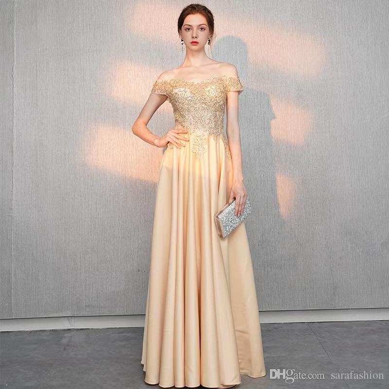 오프 숄더 이브닝 드레스 2019 새틴 긴 이브닝 드레스는 드레스 드레스를 입는다.