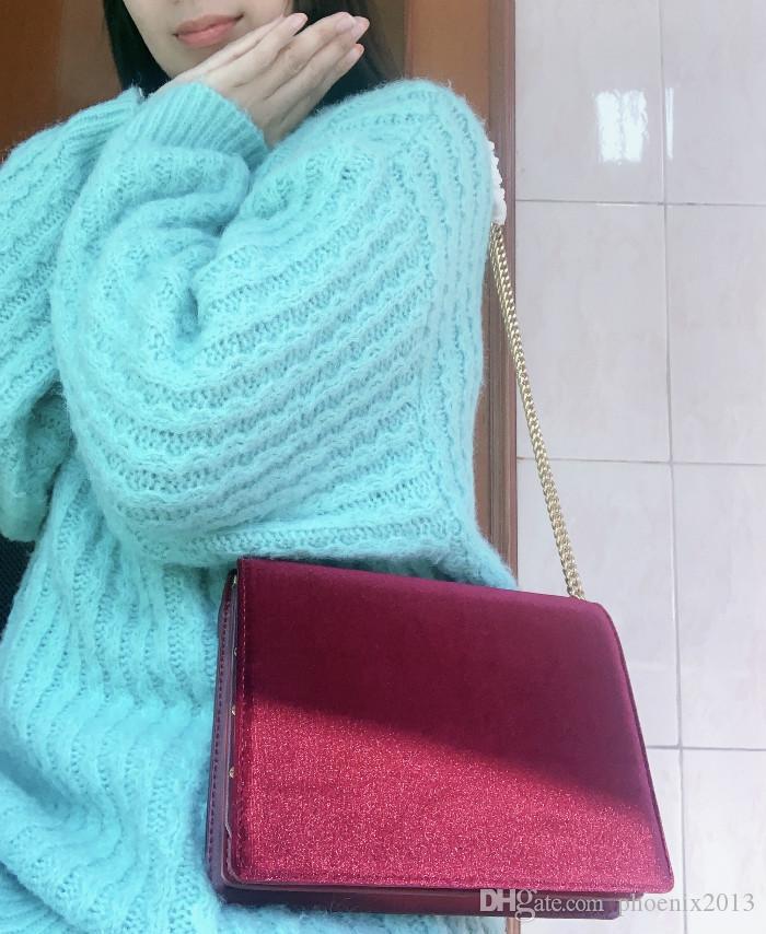 تصميم فاخر 22CM حقيبة يد الموضة المخملية نساء حقائب مع سلسلة مساء العلامة التجارية الشهيرة سيدة حقائب بورجوندي / الأسود الكتف حزم حقيبة هدية