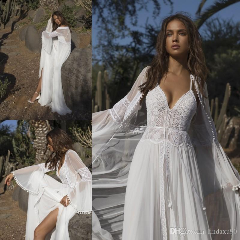 Asaf Dadush Bohemian 2019 Wedding Dresses With Wrap Long Sleeve Spaghetti Neck Bridal Gowns For Beach Gardens Cheap A Line Wedding Gowns