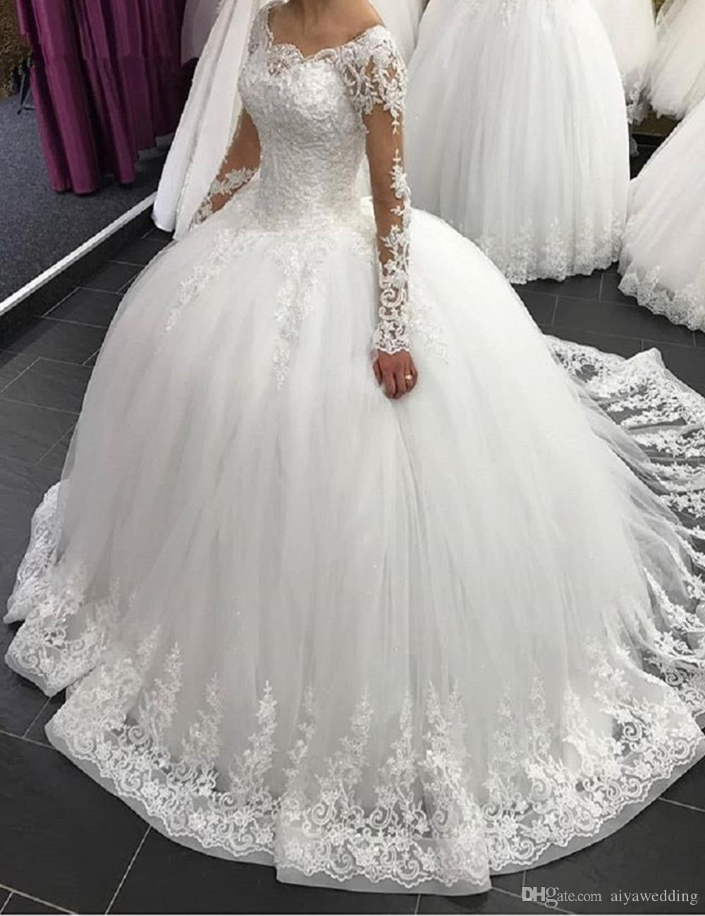 2020 Elegant Long Sleeve Wedding Dresses Lace Ball Gown Tulle