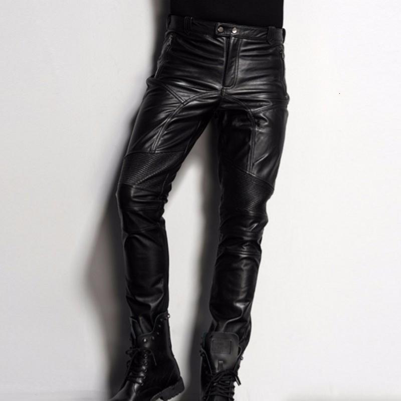 Yeni Marka Siyah Hakiki Deri Pantolon Erkek Moda Günlük Artı boyutu 35 36 Motosiklet Pantolon Pantolon Erkek Koşucular Pantalon Homme
