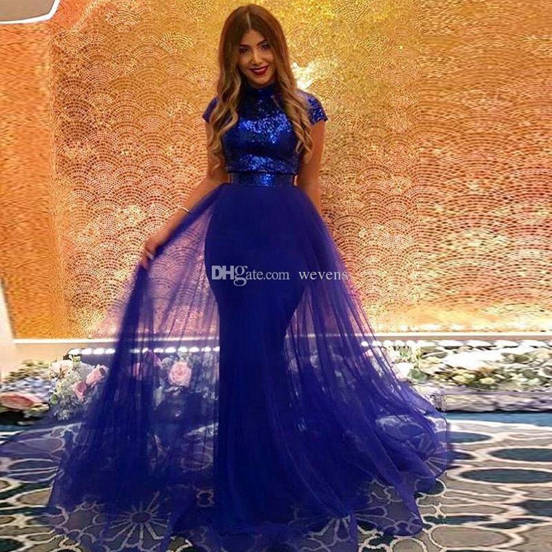 Robes de soirée sirène bleu royal brillant avec overskirt col haut manches courtes paillettes robe de célébrité balayage train robe occasion spéciale