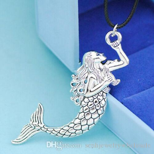 LOT 40PCS Lovely girls women Alloy Mermaid Charms Pendants necklaces Jewelry wholesale for gifts HJ21-1