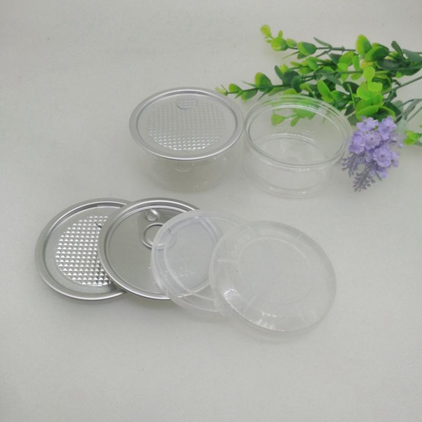 100ML 67 * 30mm PET-Plastikglas mit Metalldeckel, Behälter, Speisen Herb Aufbewahrungsbehälter Essen Gläser Transparent Nahrung versiegelte Flasche Kanister ZZA2283