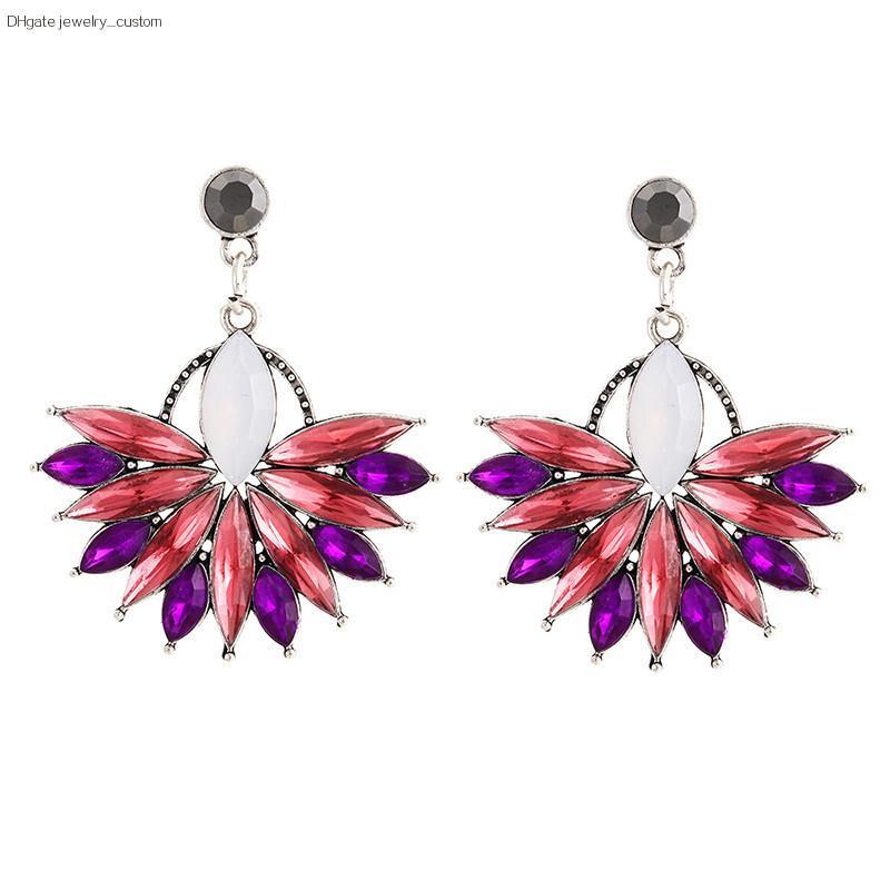 Neue Damenmode Kristall Ohrringe Strass Rot / Rosa Glas Schwarz Harz Süße Ohrringe Großhandel Schmuck E0226