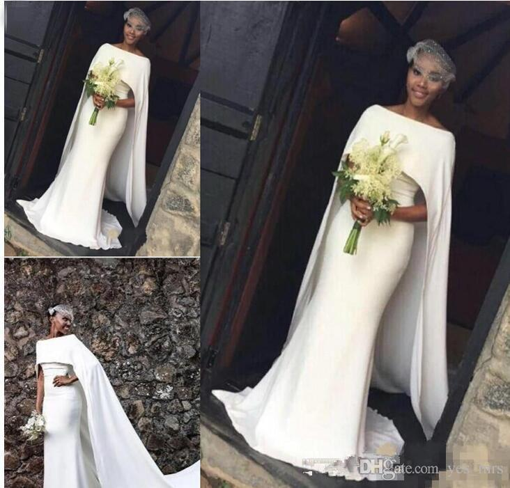 Mermaid Wedding Dresses Bateau Neck Black Girl With Cape Zipper Back Sweep Train Arabic Plus Size Satin A Line Formal Bridal Gowns