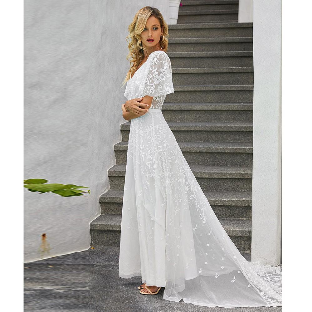 Vestido de novia de verano de las mujeres INS nuevos europeos y americanos estilo-V-cuello corto-manga de encaje impreso Mopping Vestido a media pierna, en representación de Venta