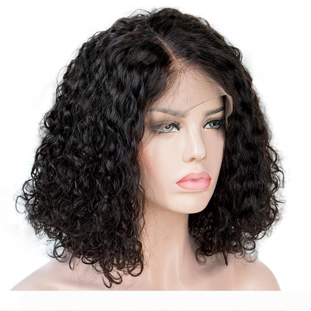 A Curly Bob Lace Front Human Hair Wigs For Women Natural Color Remy Brazilian 13x4 Water wave Lace Wig Free Part Full End 130-150%