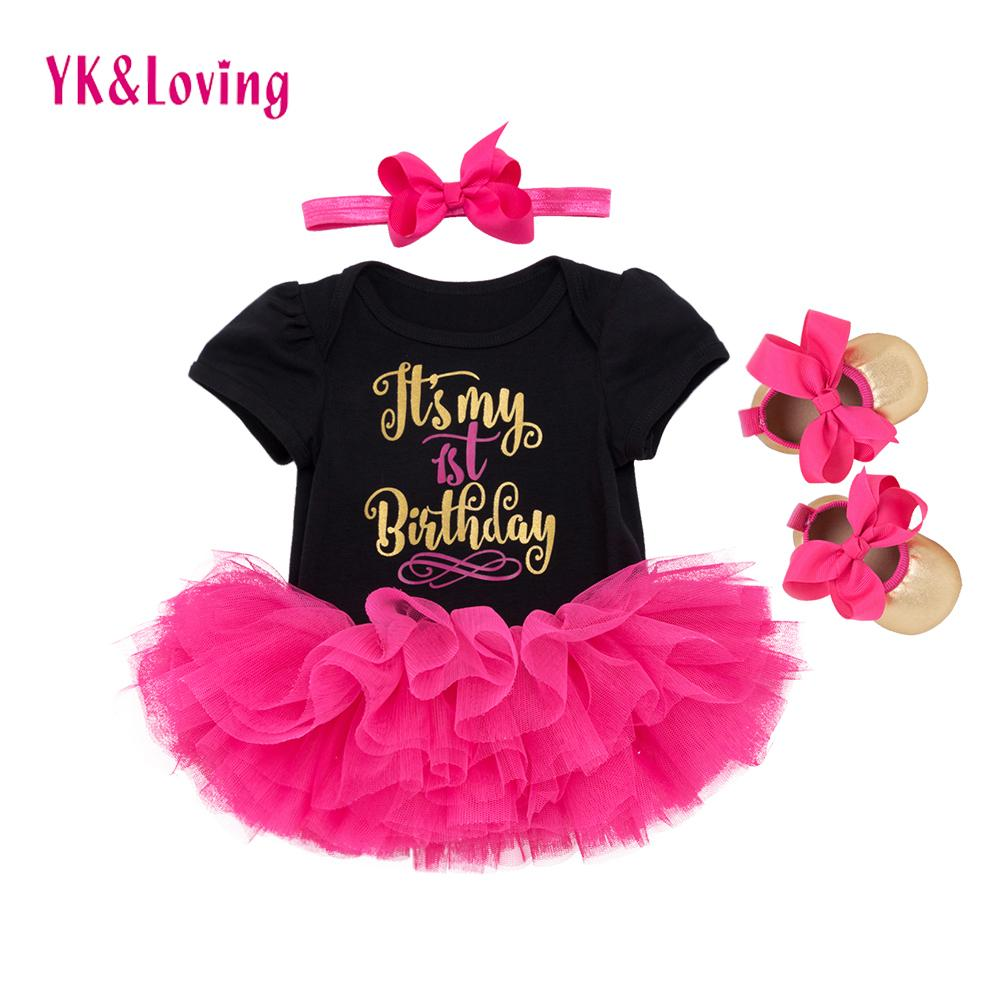 1st Birthday Girl Baby Dress Summer 2018 Cotton Black And White Romper Tutu Dresses First Kids Infant For Girls Party Clothes Y19061303