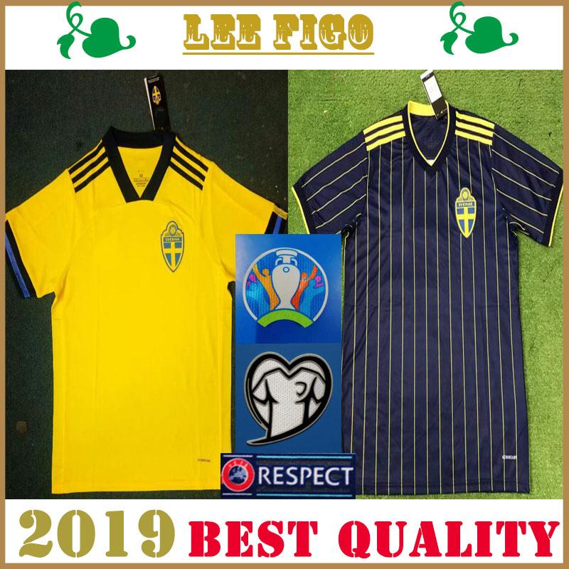 2020 Suecia camisetas de fútbol en casa amarilla # JOHANSSON JOHNSSON GUIDETTI FORSBERG BERG LARSSON # 19-20 camisetas de fútbol de Suecia