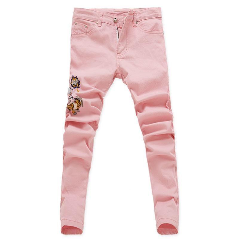 2019 Новая мода Цветок Цветочные Мужчины Тощий Stretch джинсы