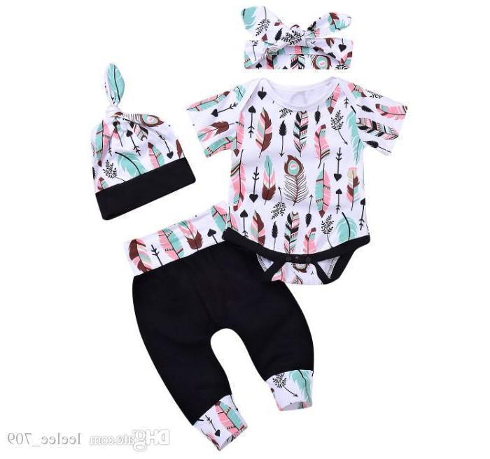 INS Baby Girl Niño Summer Summer Pieza Conjunto Trajes Impresión de plumas Manga corta Momber Pantalones Pantalones Tights Hats Headband Cotton Ropa Ropa