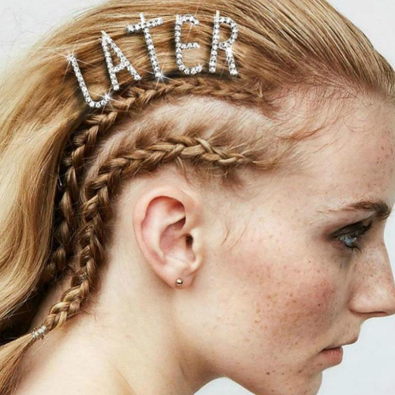 Brillant 26 Anglais Lettre Hairpins Cristal Brillant Strass Lettres Barrettes femmes Styling outil diamant Accessoires cheveux