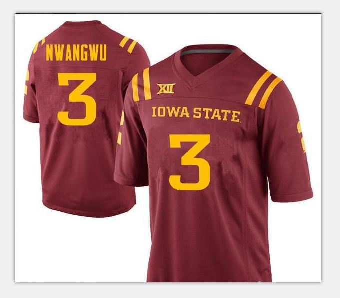 Jugend Iowa State Cyclones Kene Nwangwu 3 Jugend echte Voll Stickerei College Football Jersey-Größe S-4XL oder benutzerdefinierten beliebigen Namen oder Nummer Jersey