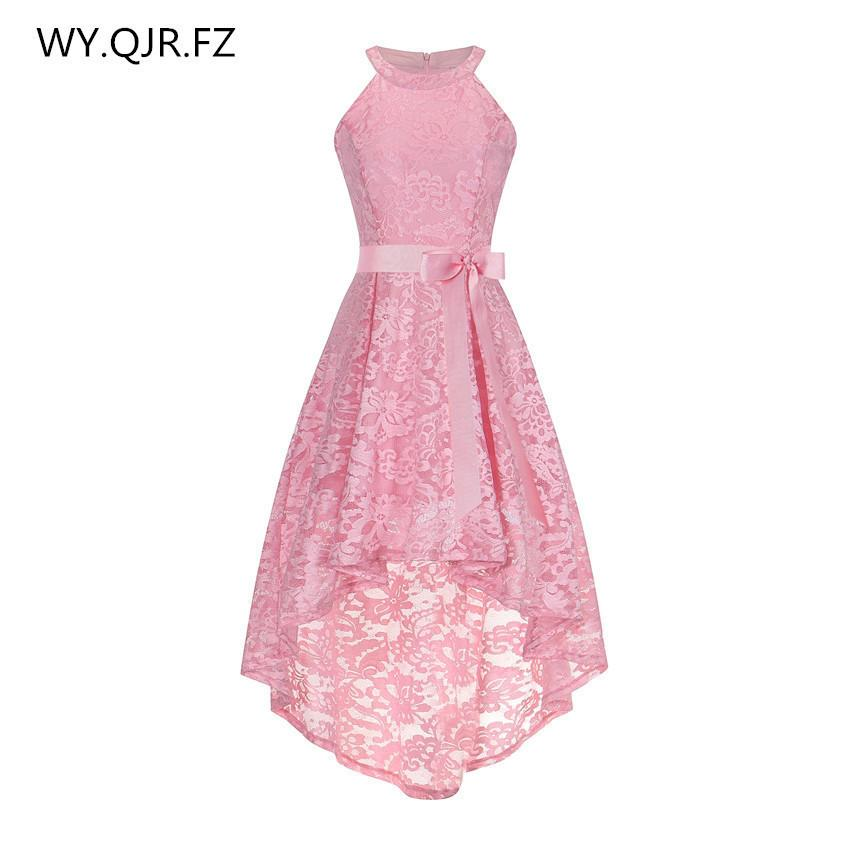 Oml526f#front Short Long Back Pink Halter Bow Evening Dresses Classmate Party Dress Prom Gown Wholesale Fashion Clothing China Y19042701