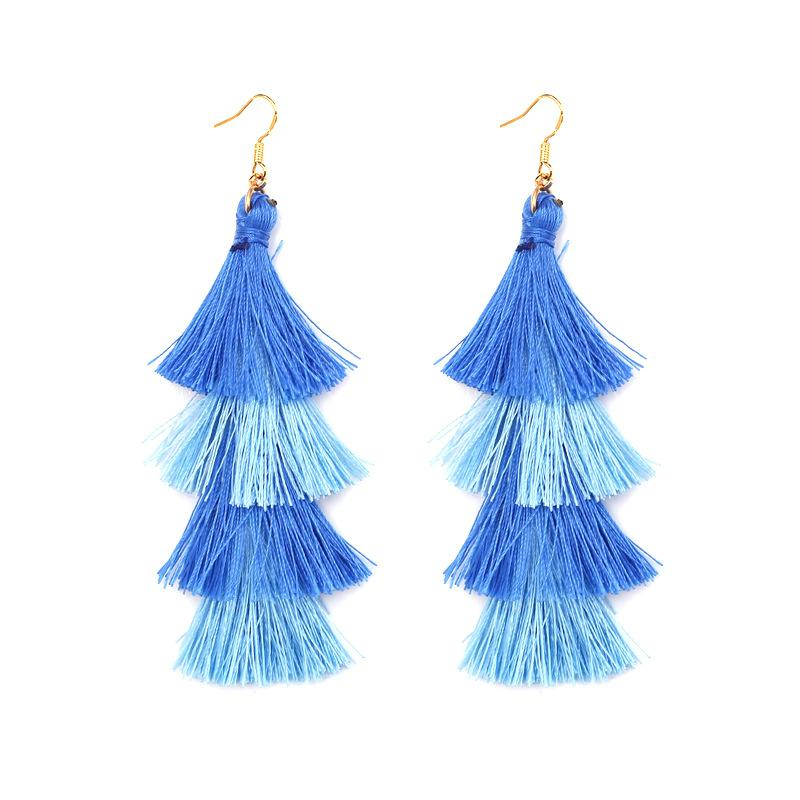 Women's Trend Explosions Fashion Colorful Tassel Alloy Bohemian long Multi-color National Wind Earrings Exquisite Earrings Jewelry Gifts