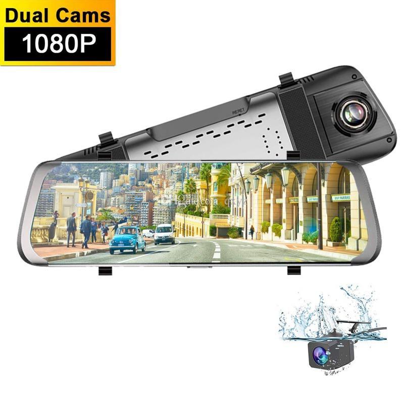"""10 """"شاشة تعمل باللمس كاميرا مرآة وسائل الاعلام سيارة DVR مسجل تيار السيارات registrator 2CH عدسة مزدوجة أمام 170 درجة الخلفية 145 درجة زاوية واسعة 1080P FHD"""