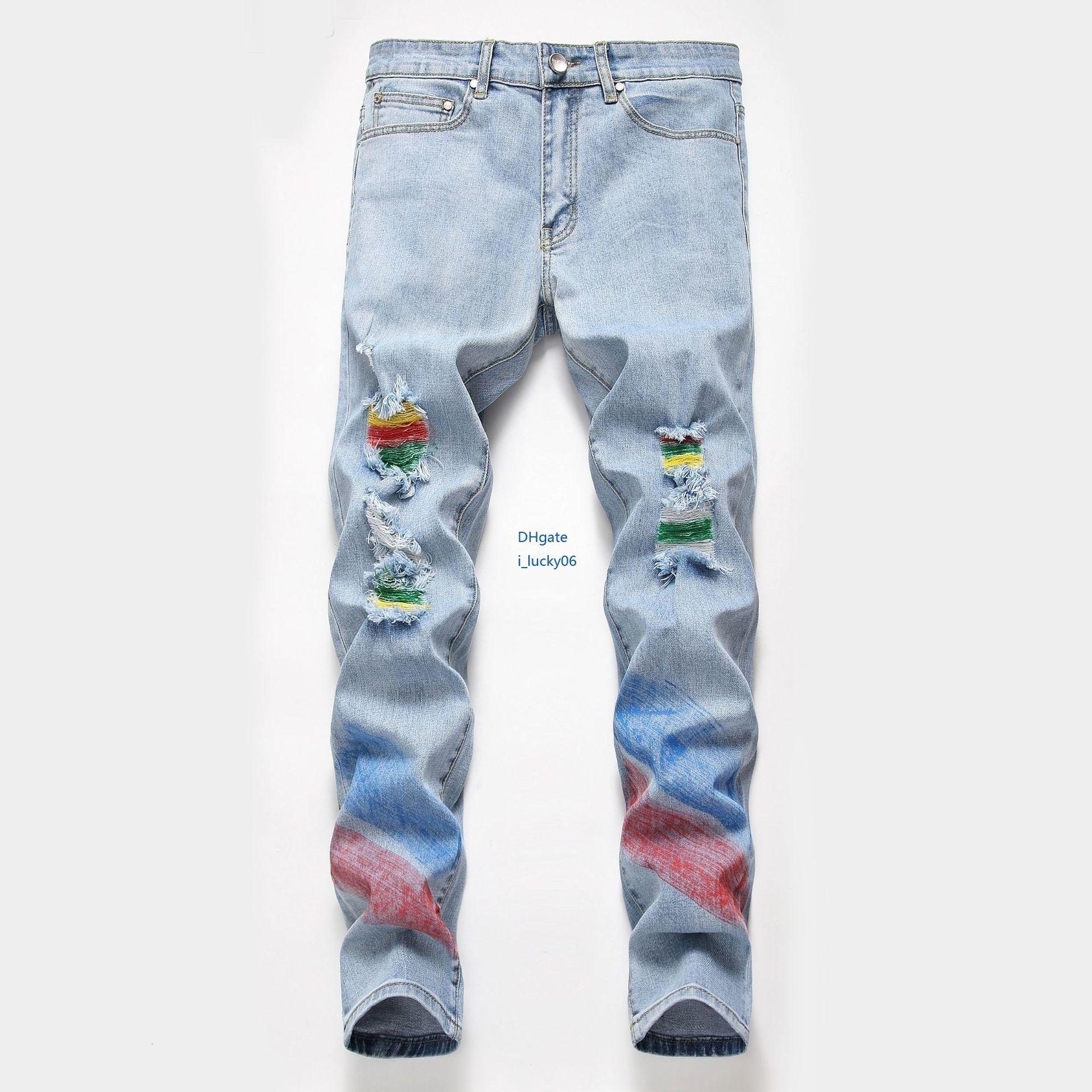 Preço de custo Preço de custo Novos jeans masculinos 2019 novos produtos Jeans Personalidade masculina Cartão da maré Força elástica Calças pintadas à mão Calças homem