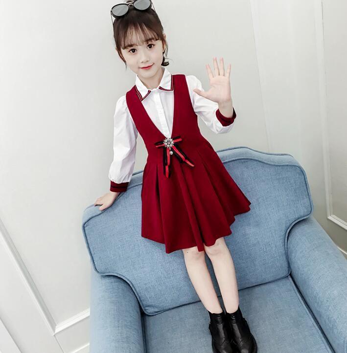 molla dei vestiti nuovo stile per bambini abito gonna principessa coreana marea cinghia shirt bambini stranieri gonna insieme a due pezzi WY618