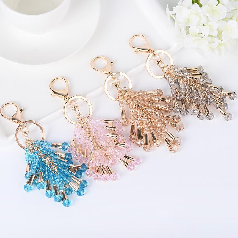 Moda Bag Crystal Bead Chaveiros Tassel metal Charme Pendant Chaveiros Jóias Acessórios Car Chaveiro Anéis Titular Presentes Mulheres Meninas