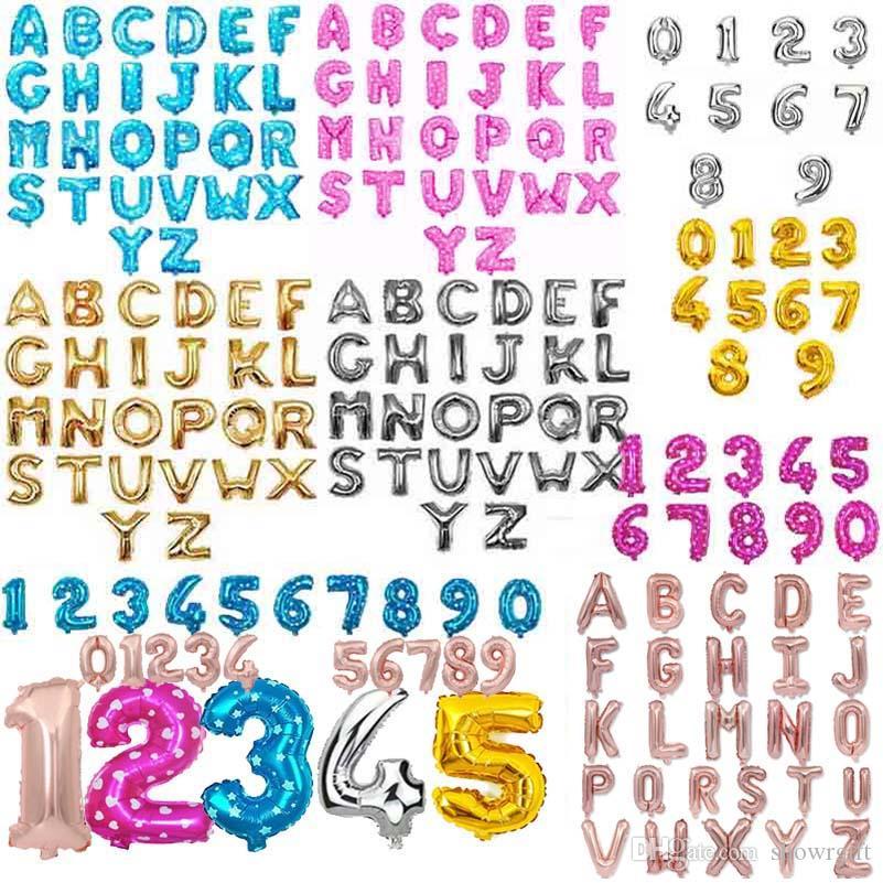 Un gruppo di lettera palloncino dalla A alla Z / numero di 0-9 festa di compleanno forniture di nozze Decorazioni di alfabeto
