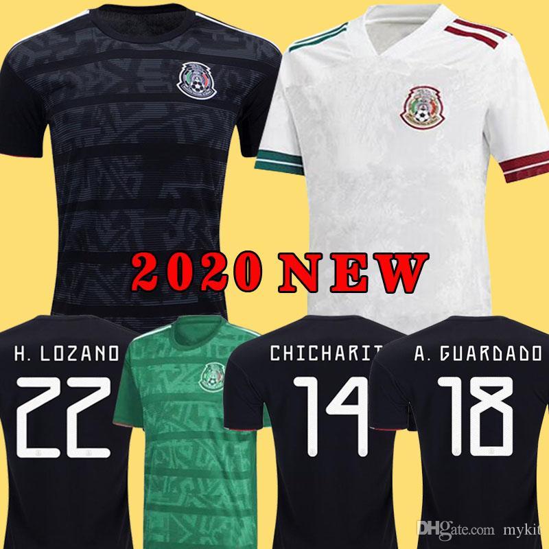 Nuovo 2020 Messico Bianco Soccer Jersey National 2019 Messico Chicharito Lozano Guardado Carlos Vela Raul Blanco Ramirez Retro Camicie di calcio