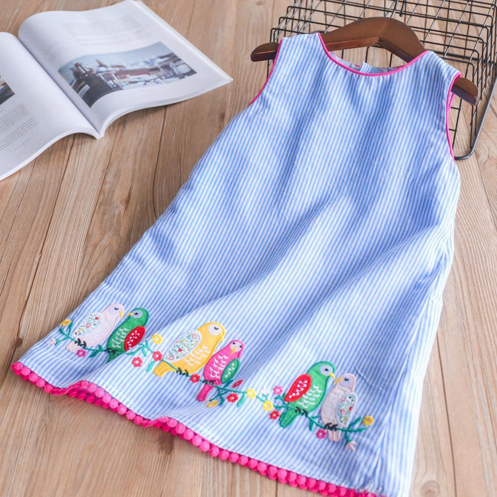 Everweekend Kızlar Kuş Çiçek İşlemeli Çizgili Ruffles Elbise Prenses Mavi Renk Kore Moda Yaz Tatili Giysiler