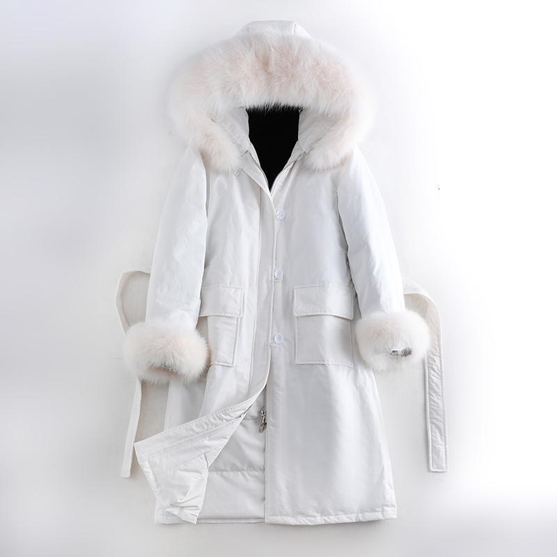 2019 весна зима женщин вниз куртка Long Real Fox Fur с капюшоном и манжета с длинным рукавом ветровки Шинель вниз пальто Женский Ladies T191030