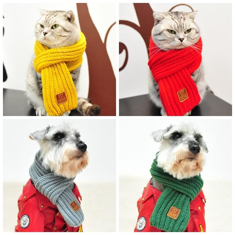 Cotton Knitting Warm Pet Dog Cat Scarves Large Medium Scarf Teddy Chihuahua Tie Winter Pet Accessories Dog Collar Pet Supply D19011506
