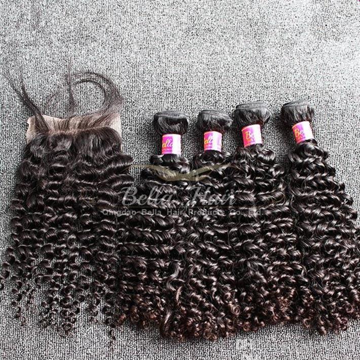 بيلا Hair® HOT بيع 5PCS / LOT الهندي مجعد الشعر حزم مع إغلاق اللون الطبيعي للشعر الإنسان الحياكة ملحقات شحن مجاني