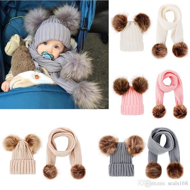 Bebek Bere Ve Atkı Çocuk Kış Kürk Pom şapka Katı Beanie Kayak Cap Eşarp Seti Noel Parti Şapkası 2pcs Isınma ayarlar / Set HH9-2420