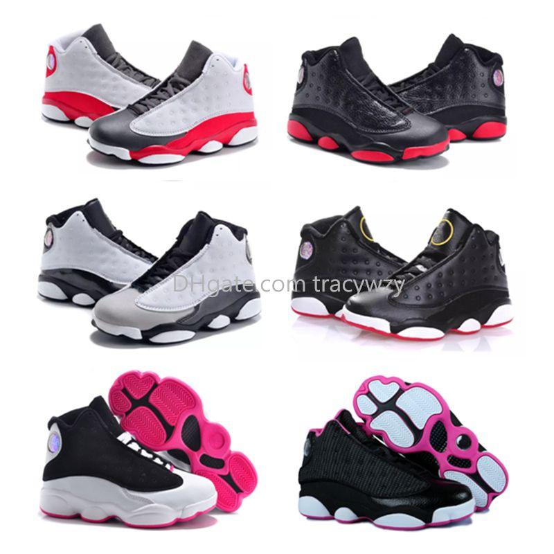 2019 새로운 청소년 어린이 농구 신발 소년 소녀 운동화 어린이 Babys 13 13s 비행 스포츠 신발의 역사를 자란 크기 11C-3Y