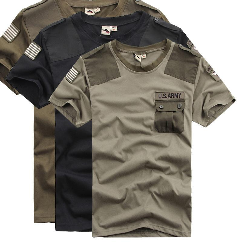 Idopy Summer Men`s Us Army Patchwork Pocket T-shirts Quick Dry Combat Military Style Tshirts Tees For Cool Men J190611