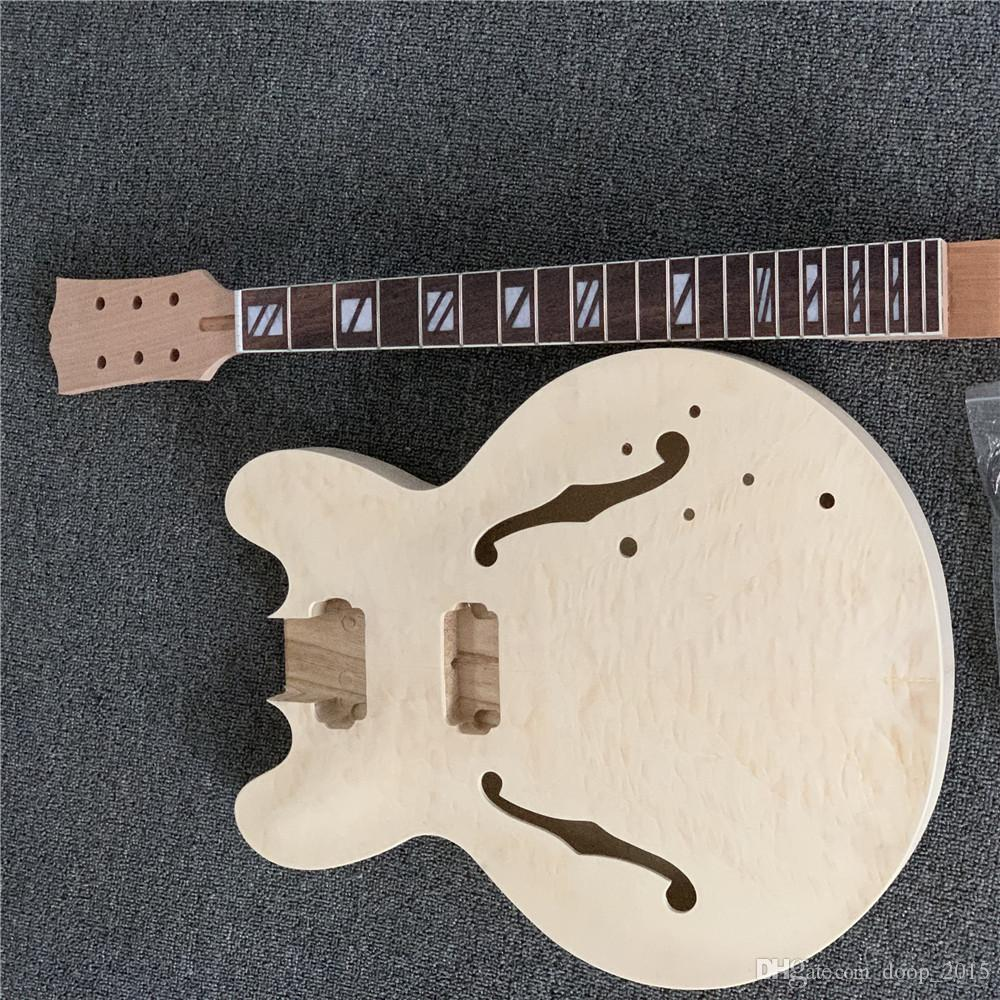 모든 하드웨어 EK-011와 중국 Aiersi 브랜드 미완성 DIY AJ335 재즈 일렉트릭 기타 키트