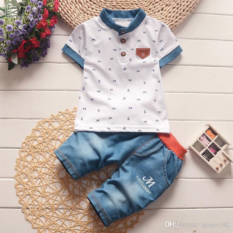 детские мальчики летняя одежда новорожденных детей комплекты одежды для мальчика рубашки с коротким рукавом + джинсы прохладный джинсовые шорты костюм