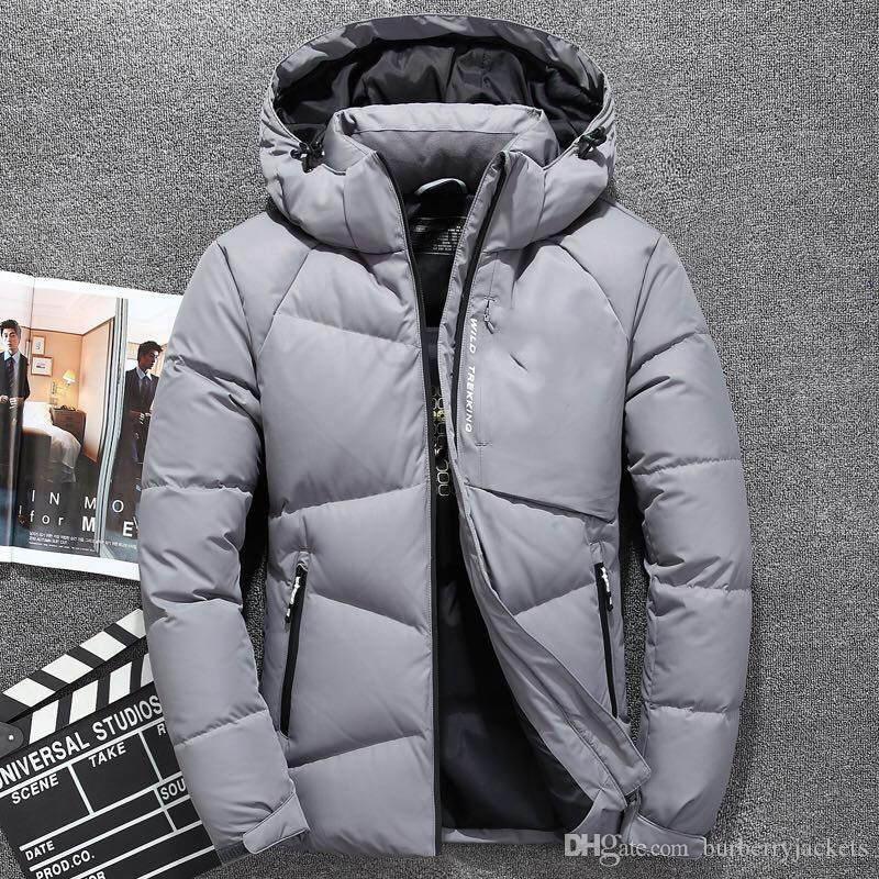 Manter aquecido North Down Jacket de venda quente New Men Inverno Curto tampa destacável Thicken Pato Branco Brasão face à prova de vento XFF3067