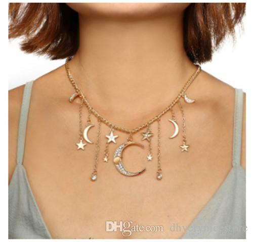 Gioielli Collana Choker accessori moda / Fashion tempestato di diamanti stelle e la luna nappa lunga catena Single Layer