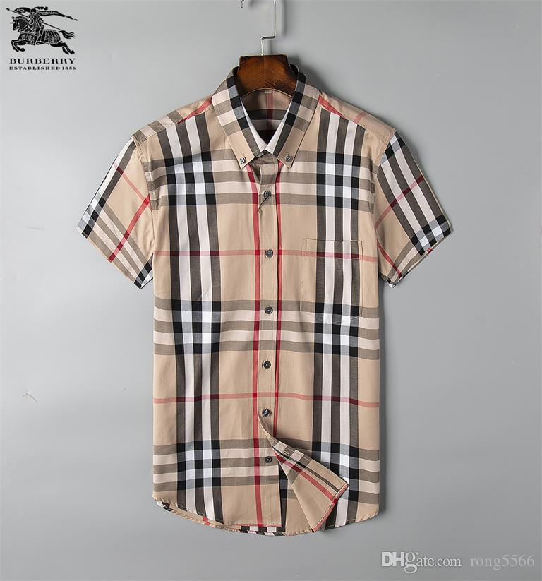 flanela 2019 moda onda de homens Camisa Xadrez de impressão a cores Mistura luxo casual Harajuku camisas de manga curta de homens Medusa Shirts # SS24