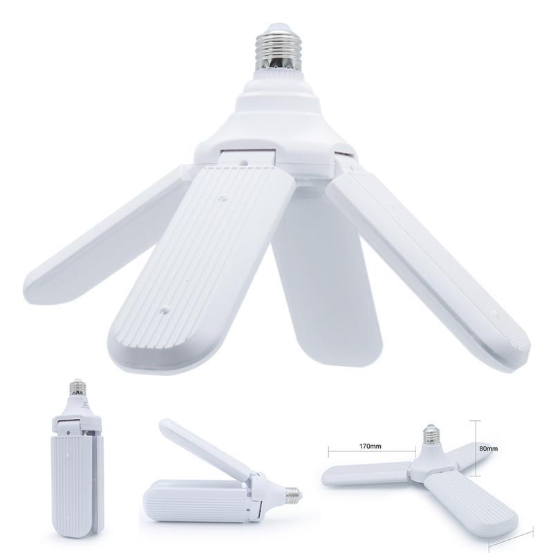 LED Bulb Lights Foldable Fan Blade Bulb E27 30W 45W 60W Angle Adjustable Ceiling Lamp Home Energy Saving Lights