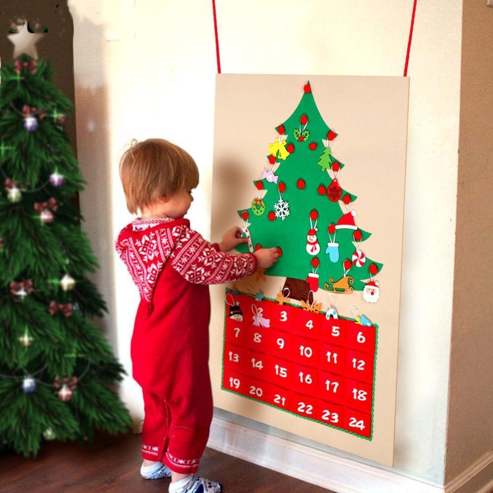 Tarih 1-24 DIY Noel Advent Takvimi Keçe Noel Ağacı Geri Sayım Takvim Cepler Ile Yeni Yıl Asılı Süsler