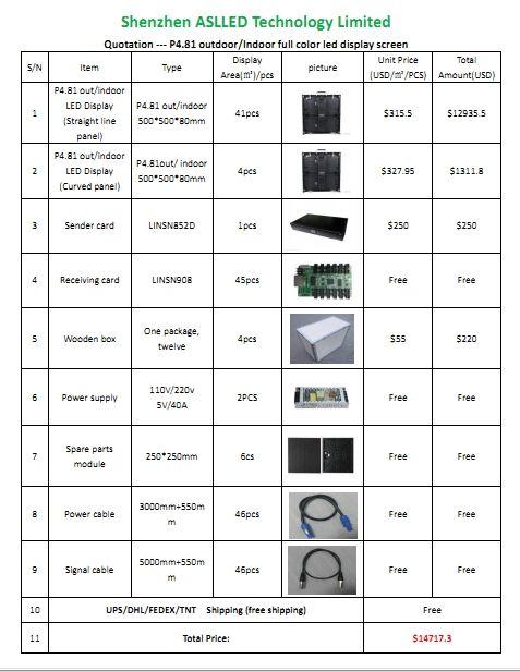 p4.81 45 PCS incluya todos los accesorios 500 * 500 * 80 P4.81 / interior al aire libre pantalla LED de pantalla de vídeo LED de arrendamiento