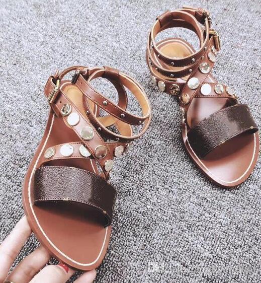 Sandalias de las mujeres Pisos de verano Sexy Tobillo Botas Altas Sandalias de gladiador Ocasionales de las mujeres Zapatos de diseñador Señoras de la playa Sandales Dames